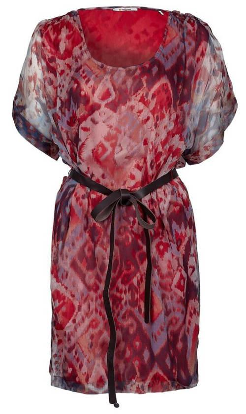 Dámská batikovaná hedvábná tunika s páskem