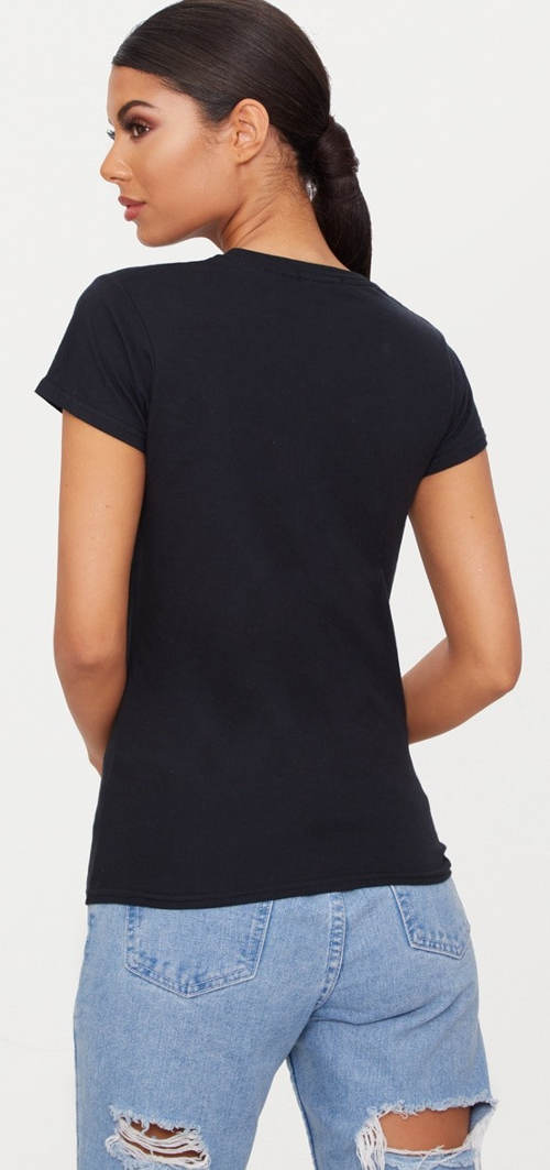 Dámské černé tričko s krátkým rukávem