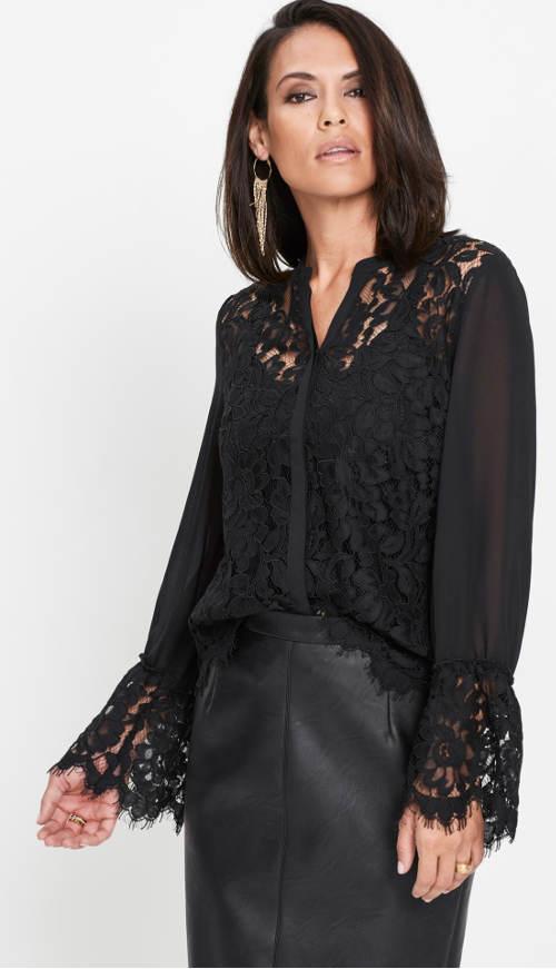 Luxusní černá krajková halenka