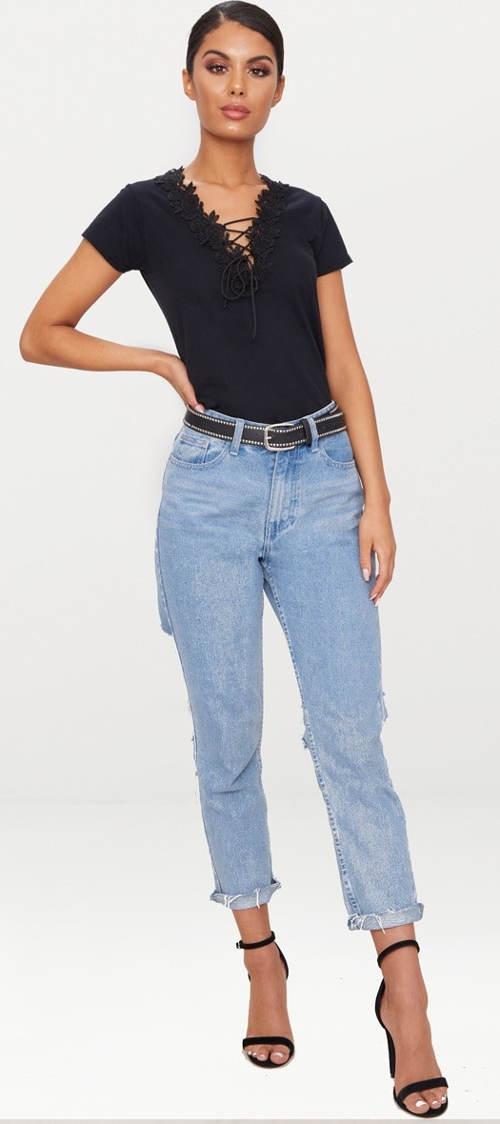 Šněrovací tričko k džínám