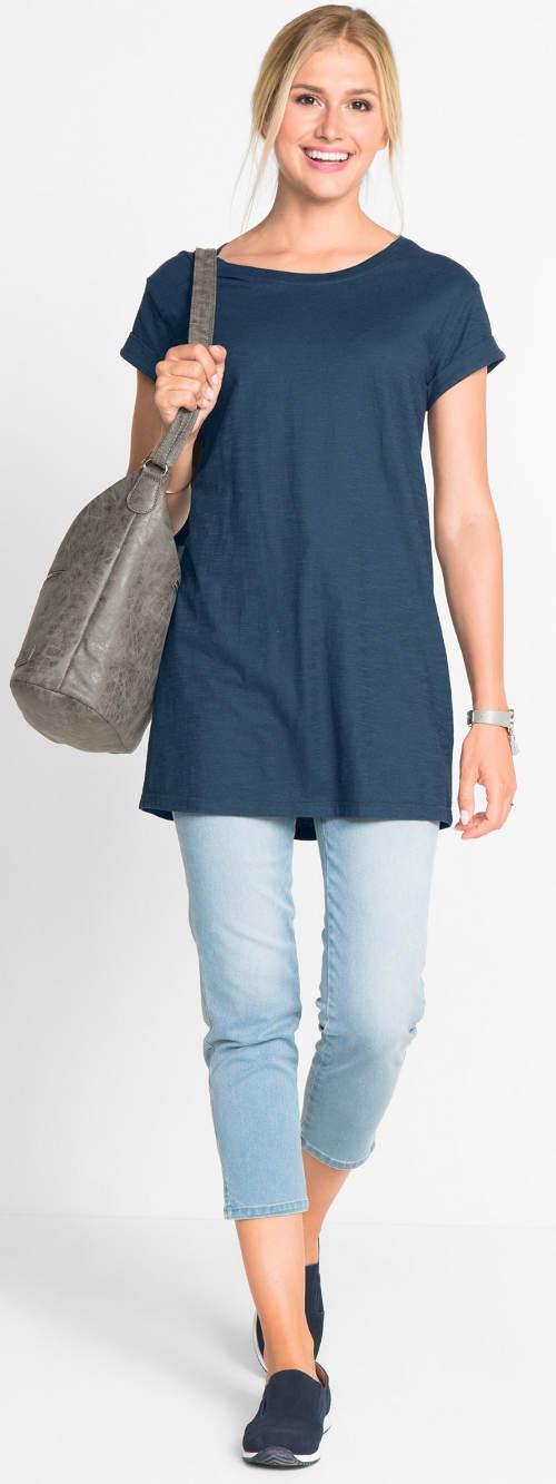 Prodloužené dámské tričko s krátkým rukávem