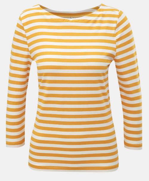 Pruhované žluto-bílé dámské tričko s 3/4 rukávy