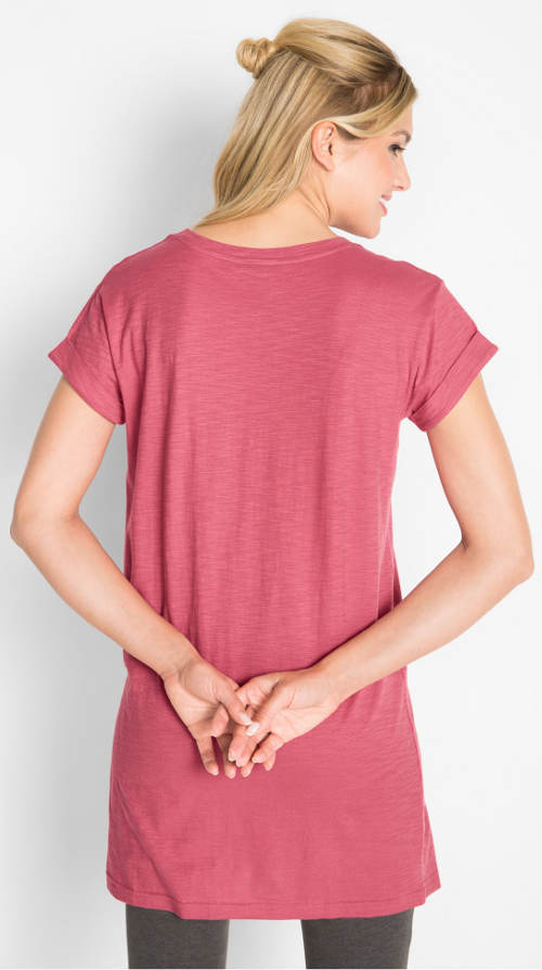 Růžové dámské tričko s délou pod zadek