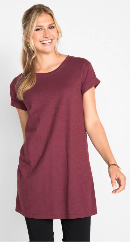 Vínové prodloužené dámské tričko
