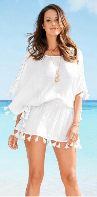 Vzdušná plážová tunika s krajkou a třásněmi