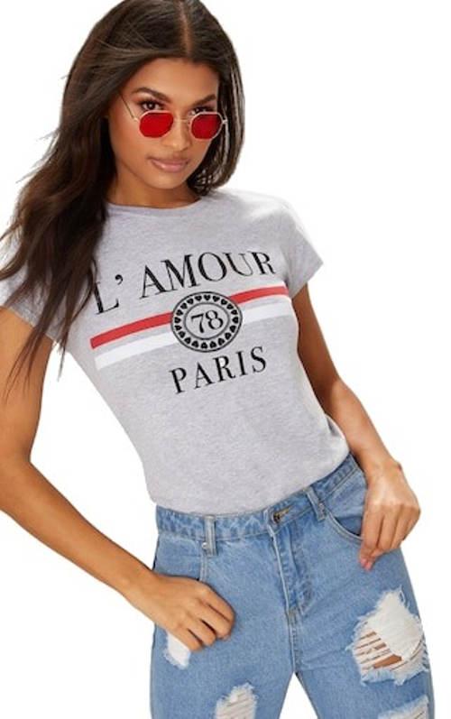 Bavlněné šedé tričko se sloganem