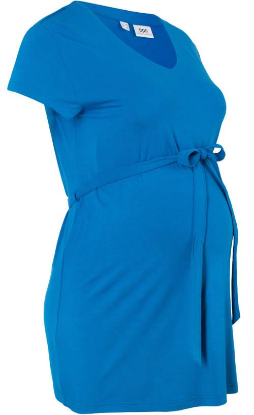 Dlouhé modré těhotenské tričko