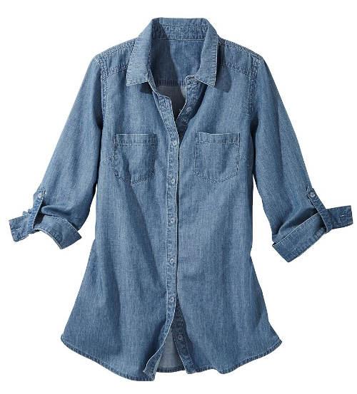 Džínová košile s knoflíkovými manžetami