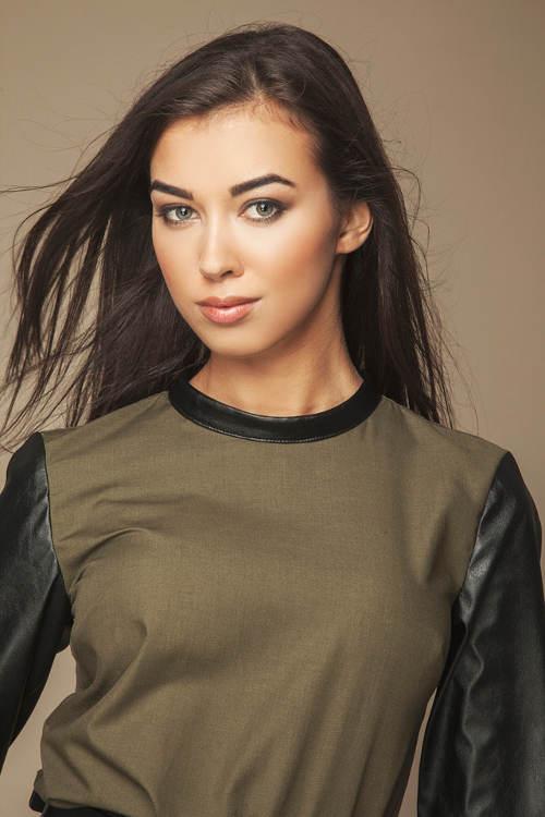 Khaki tričko s koženými rukávy