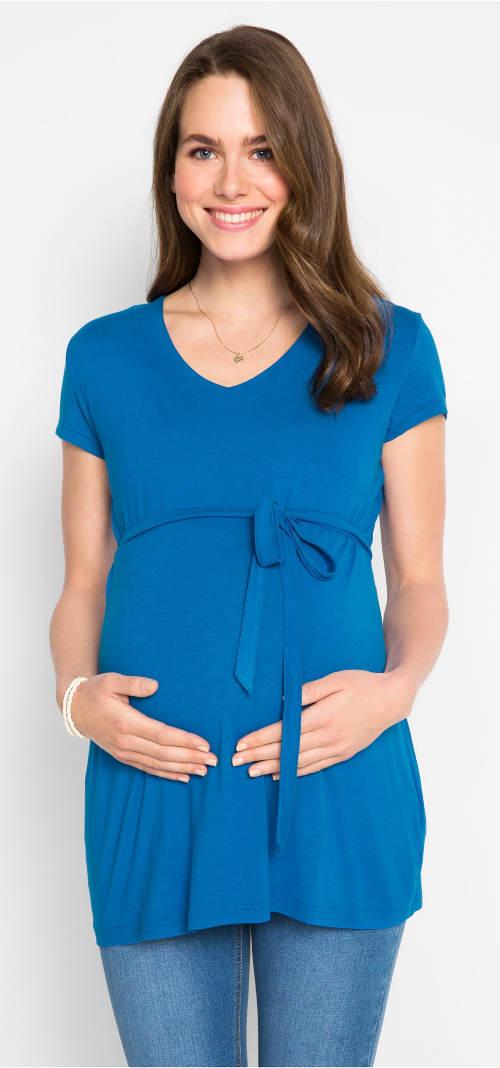 Modré těhotenské šaty se šňůrkou pod prsy