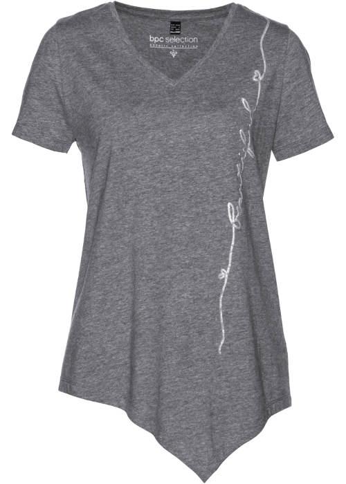 Šedé dámské asymetrické tričko