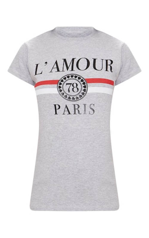 Šedé tričko L Amour Paris
