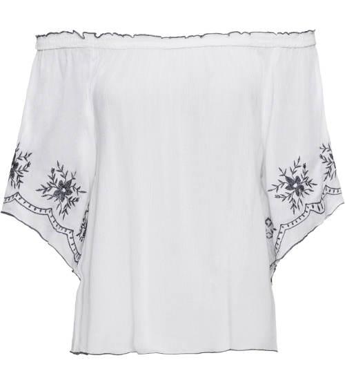 Bílá halenka s květinovou výšivkou