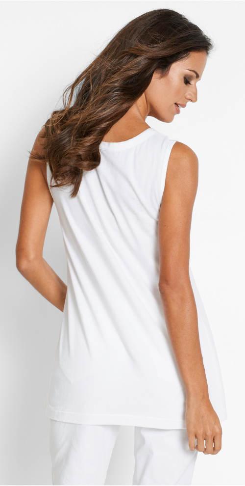 Bílé delší tričko bez rukávů