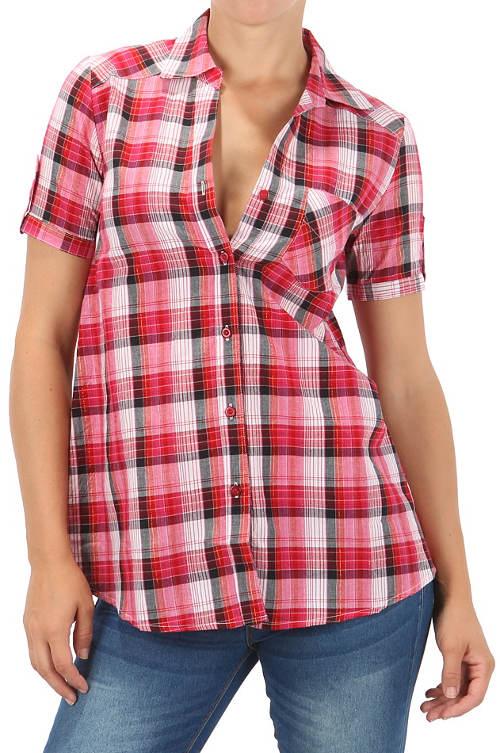 Karovaná košile s krátkým rukávem