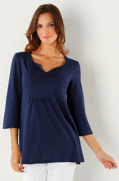 Modré volné dámské tričko