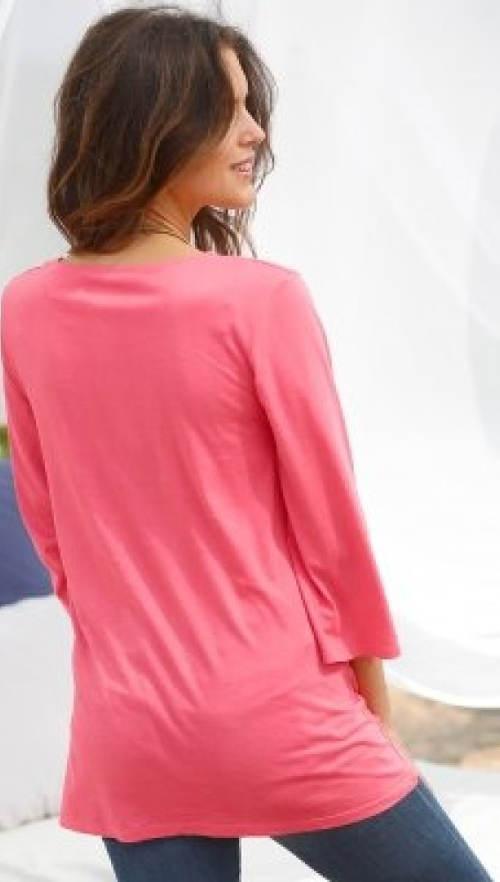 Prodloužené růžové dámské tričko