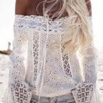 Bílá krajková plážová halenka se spadlými rukávy