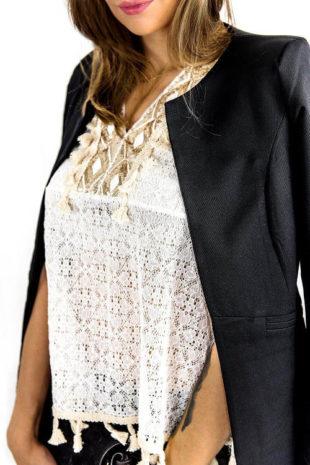 Bílo-zlatý krajkový top
