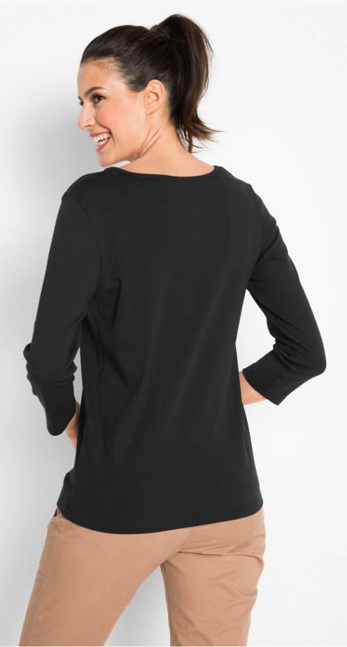 Černé dámské tričko s tříčtvrtečním rukávem