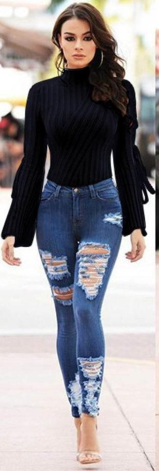 Černý pletený svetrový top