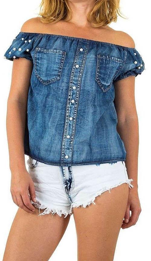 Jeansová halenka s lodičkovým výstřihem