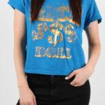 Modré dámské tričko se zlatým potiskem Alcott