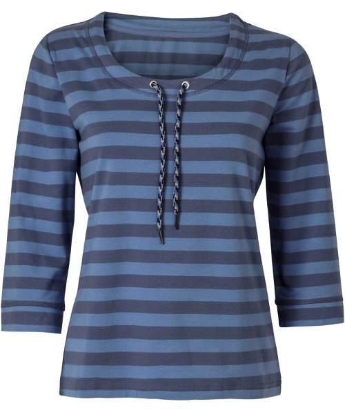 Modré pruhované podzimní tričko