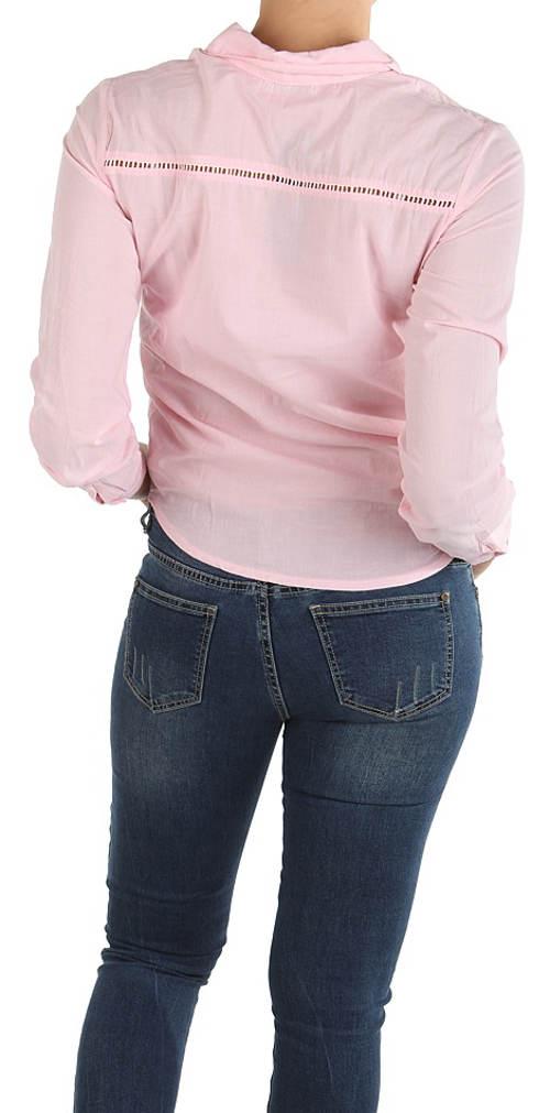 Růžová dámská košile s dlouhými rukávy