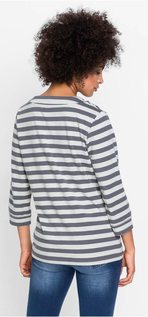 Šedo-bílé pruhované dámské tričko