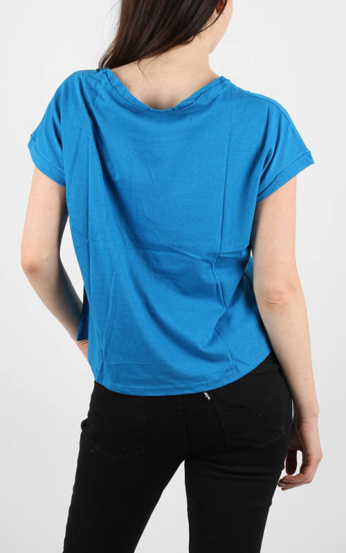 Vzdušné modré dámské tričko
