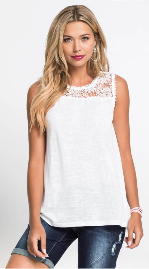 Bílé letní krajkové tričko