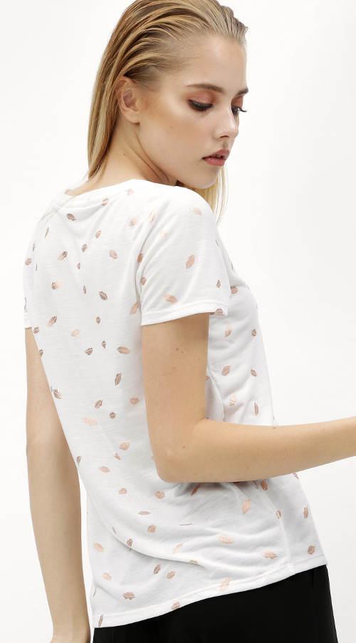 Bílé pusinkové dámské tričko