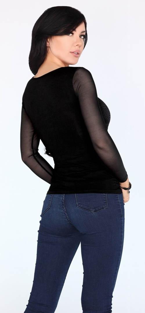 Černá dámská halenka k džínam