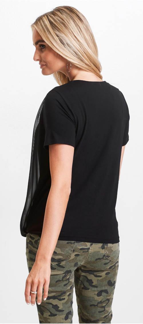 Černé dvouvrstvé šifónové tričko