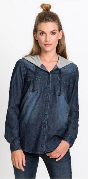 Džínová dámská košile s kapucí