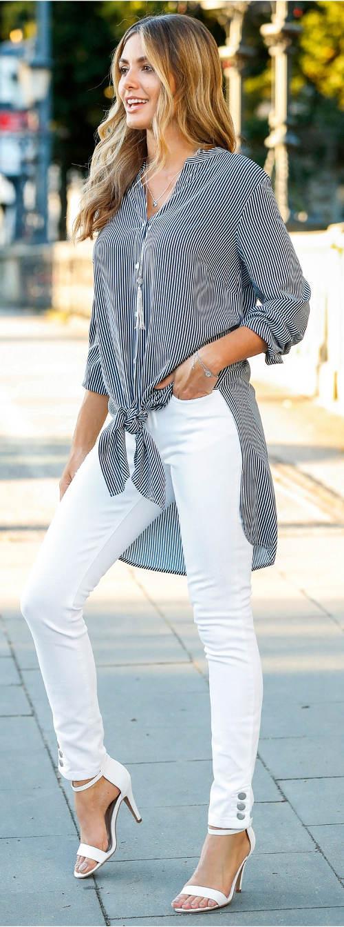 Prodloužená dámská košile s uzlem