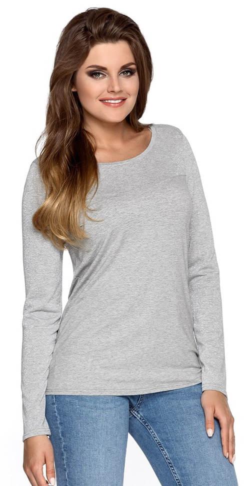 Šedé dámské tričko s dlouhým rukávem