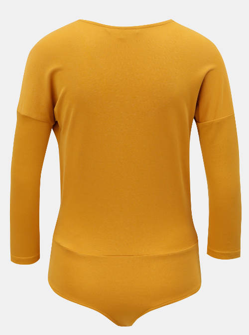Žluté dámské body s dlouhým rukávem