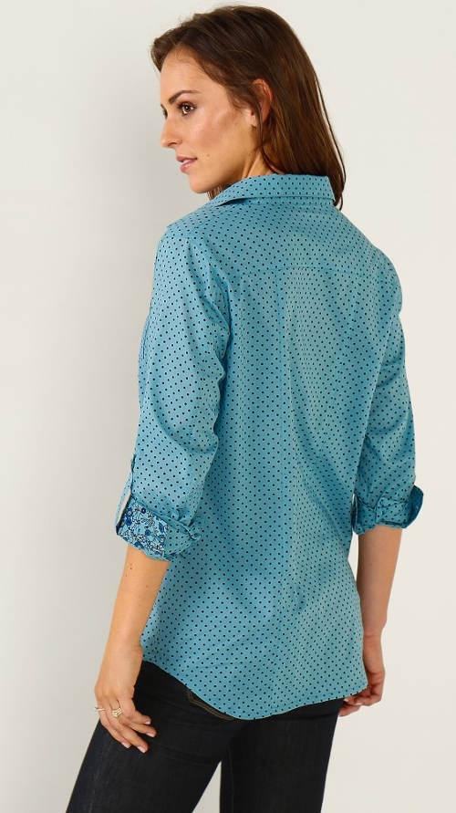 Dámská košile s knoflíkovou patkou pro ohrnutí rukávu