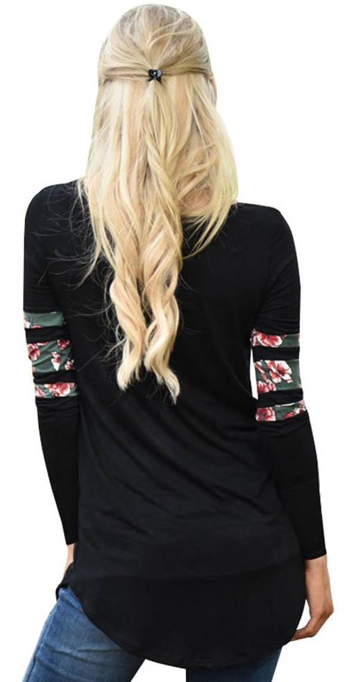 Dlouhé černé dámské tričko