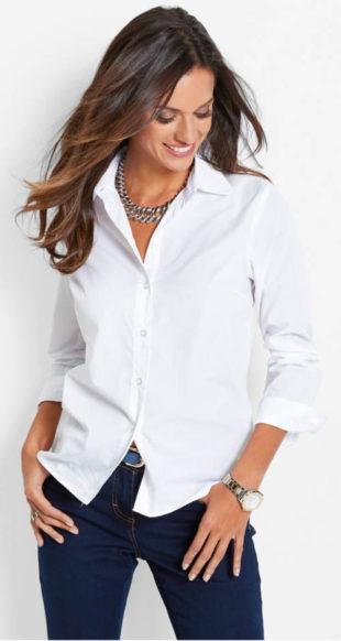 Jednobarevná dámská košile s dlouhým rukávem