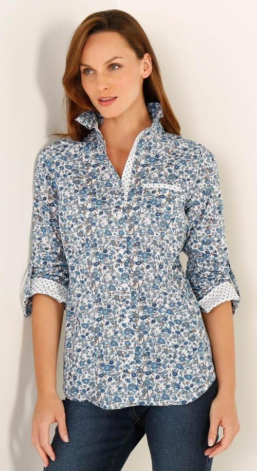 Košilová halenka s potiskem květin
