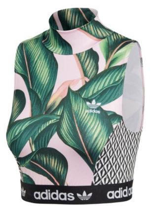 Krátký top Adidas s motivem tropických listů