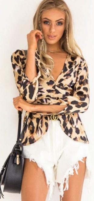 Leopardí halenka s páskem