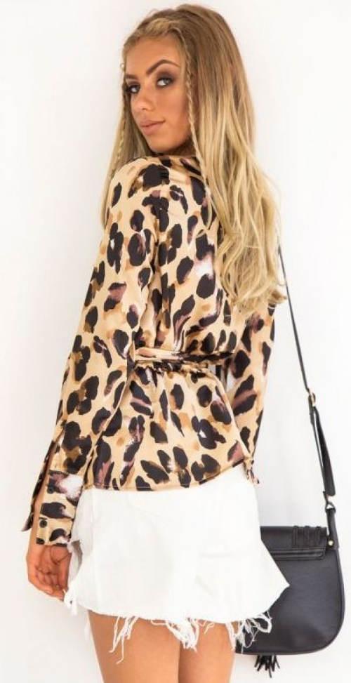 Leopardí top se stažením v pase