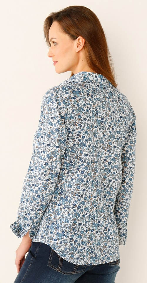 Modrá dámská košile s potiskem květin