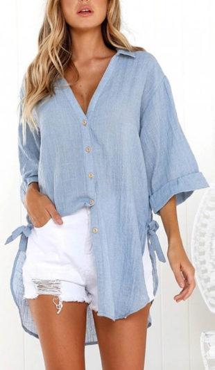 Modrá dlouhá dámská košile