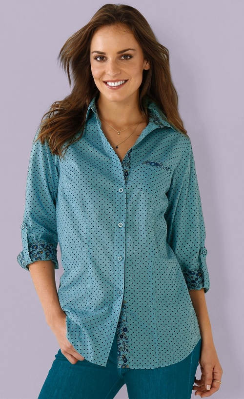 Modrá puntíkovaná dámská košile