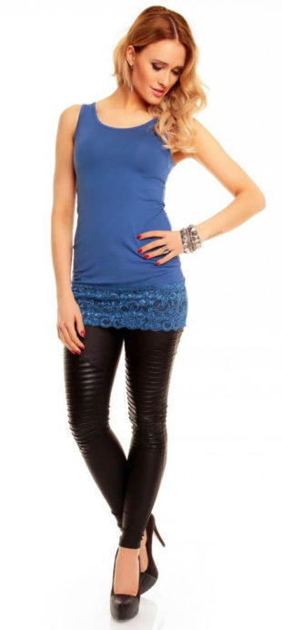 Modré krajkové dámské tílko